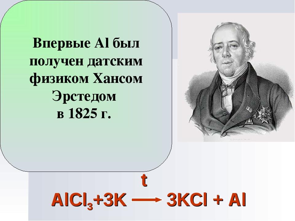 Впервые Al был получен датским физиком Хансом Эрстедом в 1825 г.