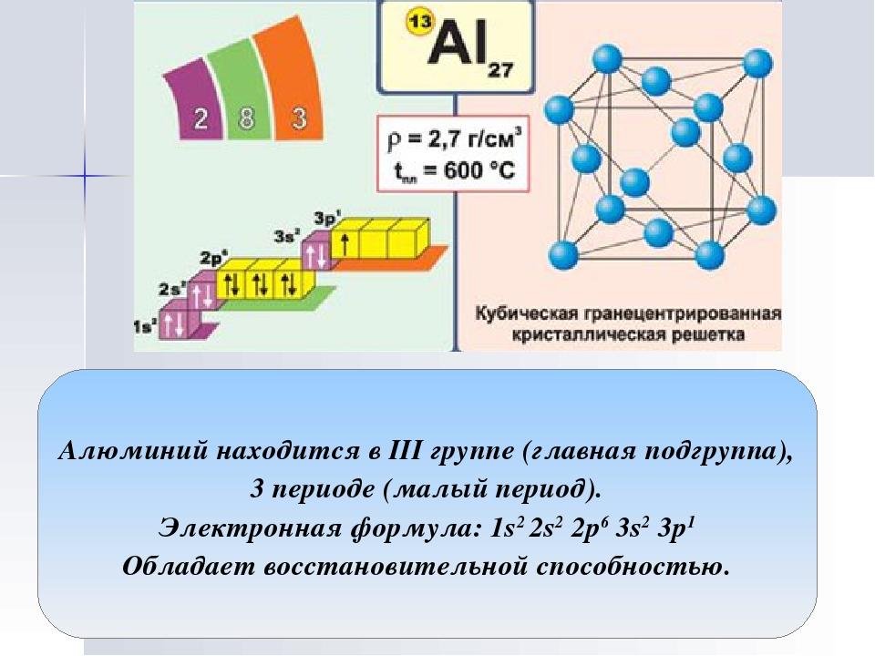 Алюминий находится в III группе (главная подгруппа), 3 периоде (малый период)...