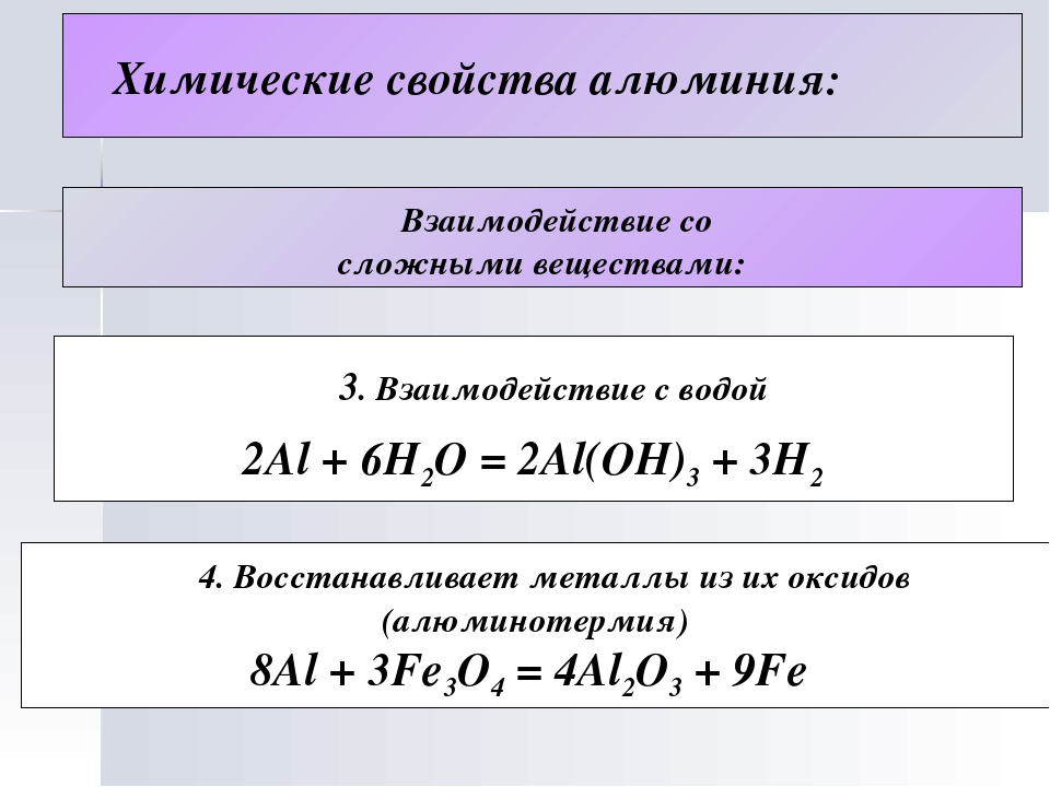 Химические свойства алюминия: Взаимодействие со сложными веществами: 3. Взаи...