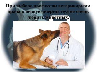 При выборе профессии ветеринарного врача в первую очередь нужно очень любить