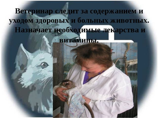 Ветеринар следит за содержанием и уходом здоровых и больных животных. Назнача...