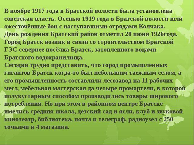 В ноябре 1917 года в Братской волости была установлена советская власть.Осен...