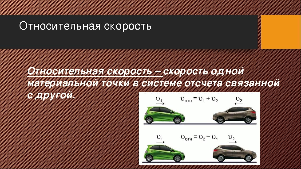 Относительная скорость Относительная скорость – скорость одной материальной т...