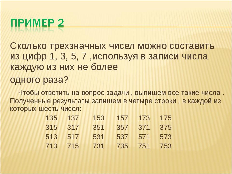 Сколько трехзначных чисел можно составить из цифр 1, 3, 5, 7 ,используя в зап...