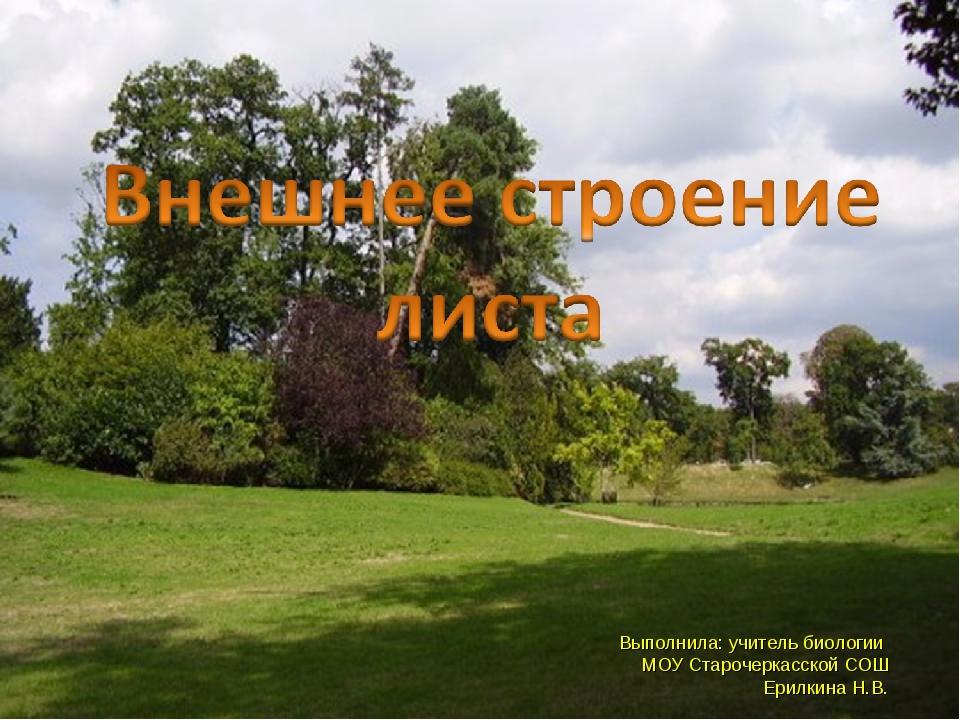 Выполнила: учитель биологии МОУ Старочеркасской СОШ Ерилкина Н.В.