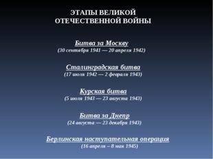Битва за Москву (30 сентября 1941 — 20 апреля 1942) Сталинградская битва (17