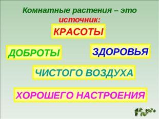 Комнатные растения – это источник: КРАСОТЫ ДОБРОТЫ ЗДОРОВЬЯ ЧИСТОГО ВОЗДУХА Х