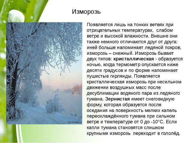 Изморозь Появляется лишь на тонких ветвях при отрицательных температурах, с...