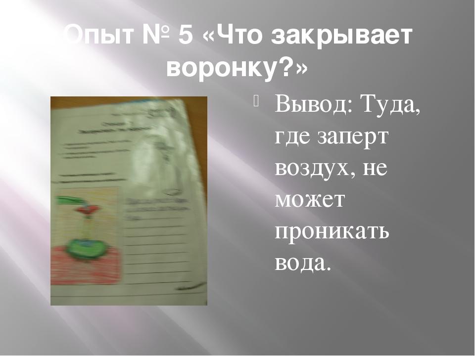 Опыт № 5 «Что закрывает воронку?» Вывод: Туда, где заперт воздух, не может пр...