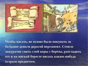 Чтобы писать, не нужно было покупать за большие деньги дорогой пергамент. Сто