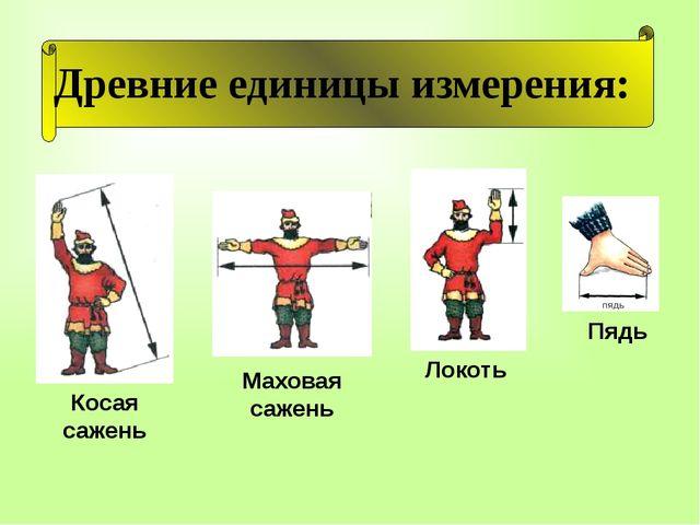 Древние единицы измерения: Маховая сажень Косая сажень Локоть Пядь