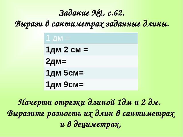 Задание №1, с.62. Вырази в сантиметрах заданные длины. Начерти отрезки длиной...