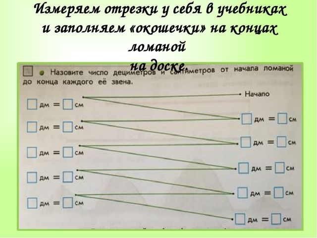 Измеряем отрезки у себя в учебниках и заполняем «окошечки» на концах ломаной...