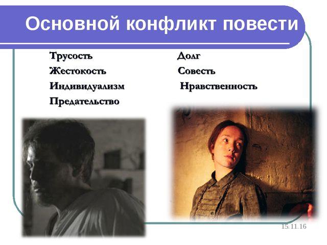 Основной конфликт повести * http://aida.ucoz.ru