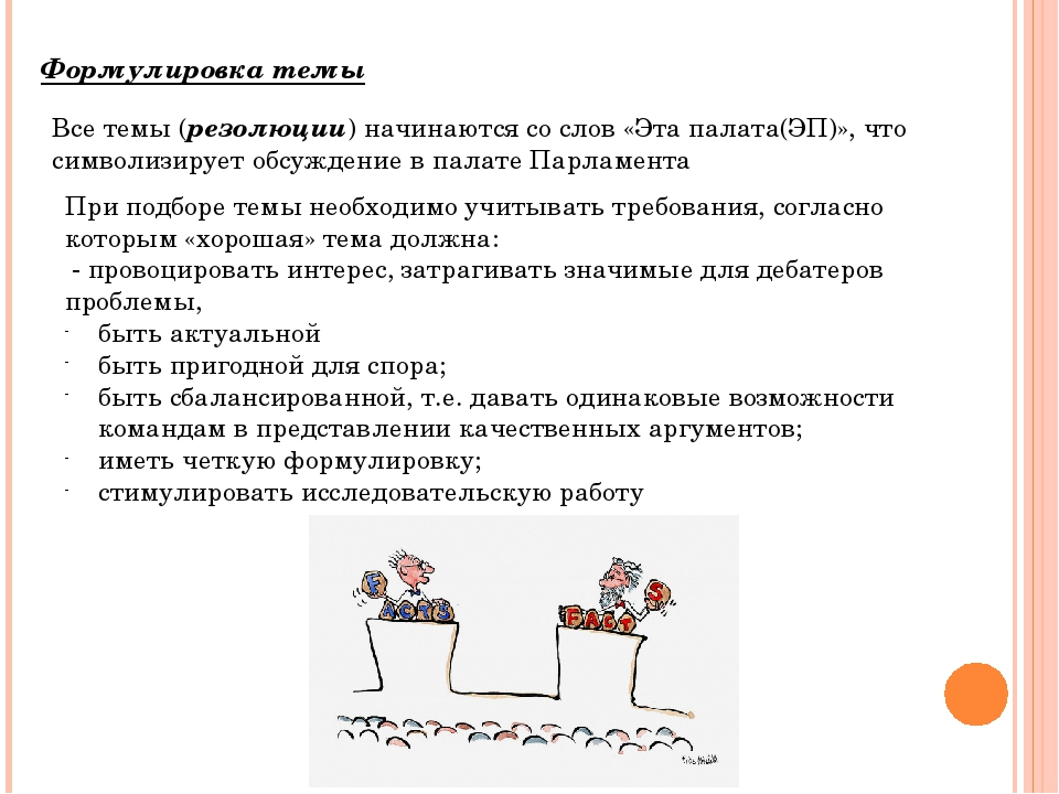 Формулировка темы Все темы (резолюции) начинаются со слов «Эта палата(ЭП)», ч...