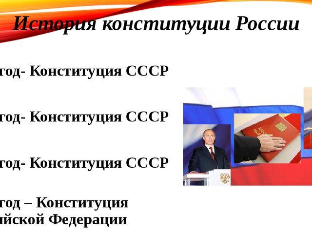 История конституции России 1924 год- Конституция СССР 1936 год- Конституция С...