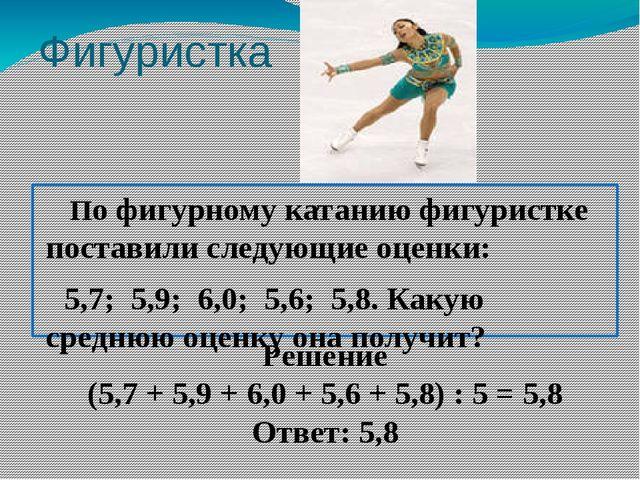 Фигуристка По фигурному катанию фигуристке поставили следующие оценки: 5,7; 5...