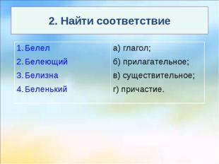 2. Найти соответствие Белел Белеющий Белизна Беленькийа) глагол; б) прилагат