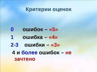 Критерии оценок 0 ошибок – «5» 1 ошибка – «4» 2-3 ошибки – «3» 4 и более ошиб