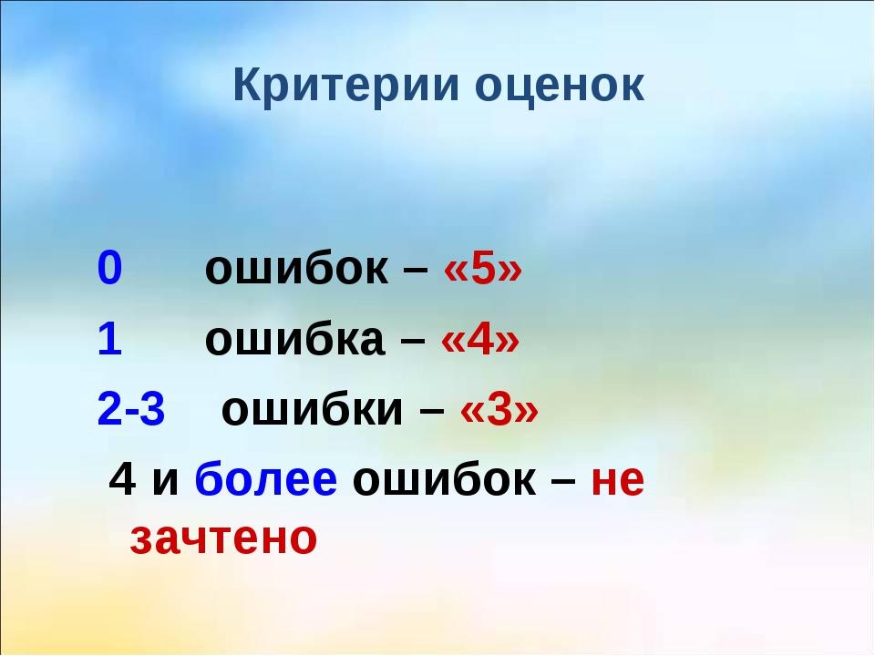 Критерии оценок 0 ошибок – «5» 1 ошибка – «4» 2-3 ошибки – «3» 4 и более ошиб...