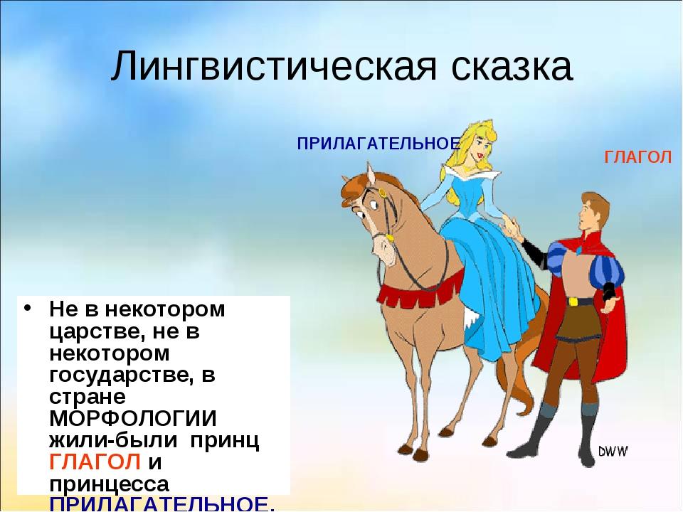 Лингвистическая сказка Не в некотором царстве, не в некотором государстве, в...