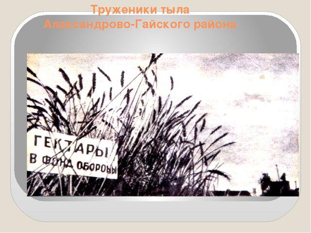 Труженики тыла Александрово-Гайского района