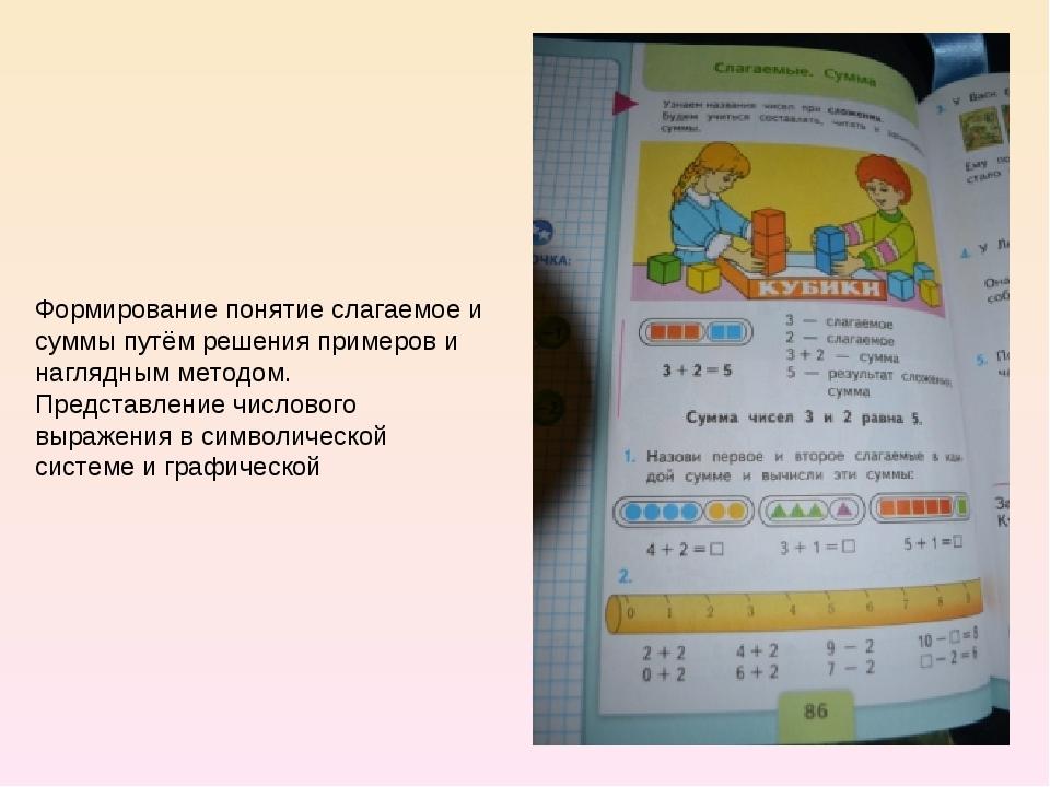 Формирование понятие слагаемое и суммы путём решения примеров и наглядным мет...