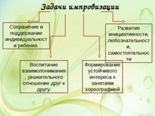 Задачи импровизации Сохранение и поддержание индивидуальности ребенка Развити