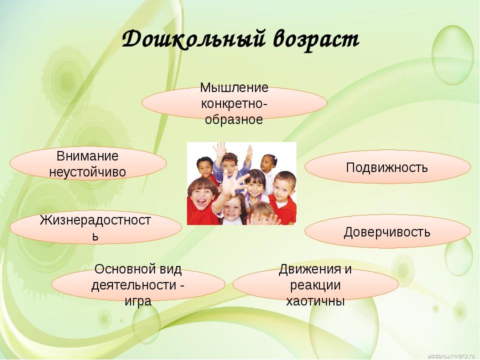 Дошкольный возраст Жизнерадостность Подвижность Доверчивость Движения и реакц...