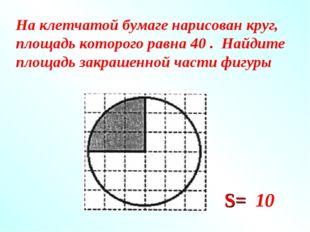 На клетчатой бумаге нарисован круг, площадь которого равна 40 . Найдите площа