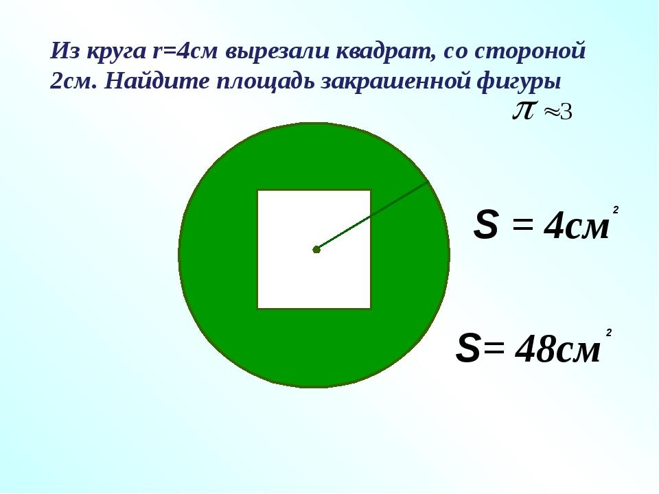 Из круга r=4см вырезали квадрат, со стороной 2см. Найдите площадь закрашенной...