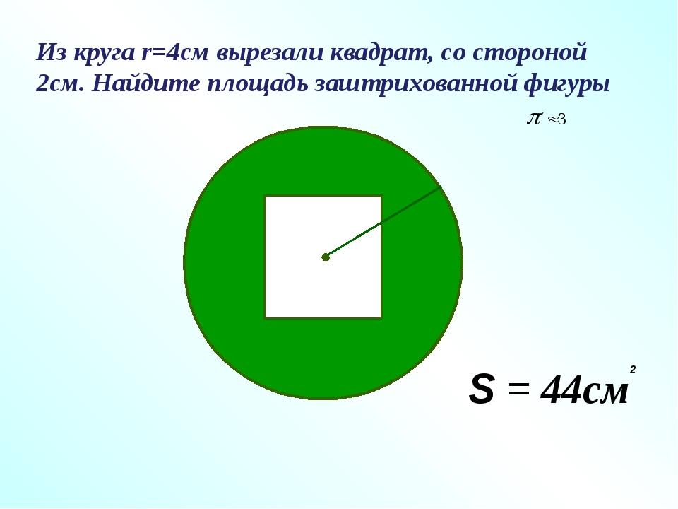 Из круга r=4см вырезали квадрат, со стороной 2см. Найдите площадь заштрихован...