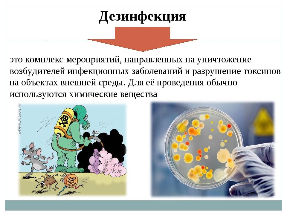 Дезинфекция это комплекс мероприятий, направленных на уничтожение возбудителе...