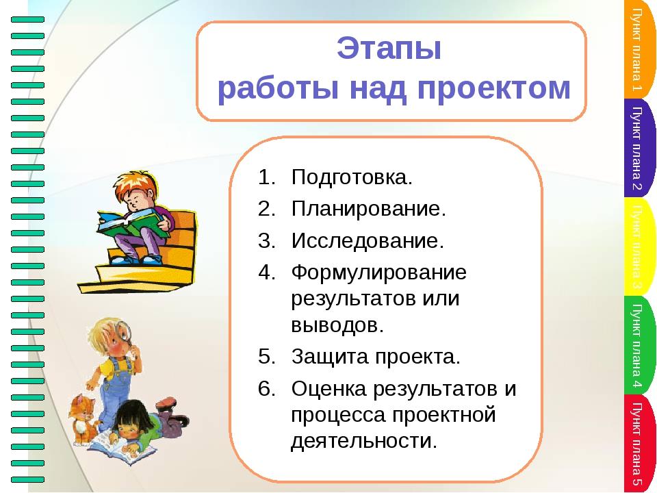 Этапы работы над проектом Подготовка. Планирование. Исследование. Формулирова...