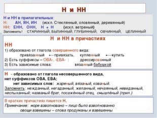 Н и НН Н и НН в причастиях НН 1) образовано от глагола совершенного вида: при