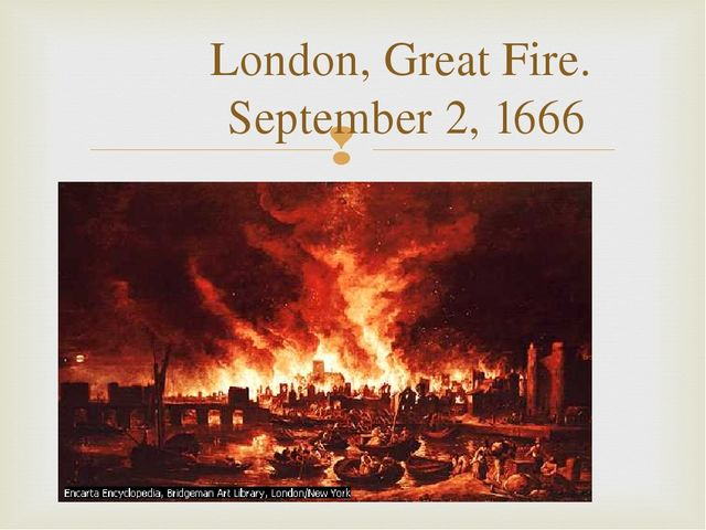 London, Great Fire. September 2, 1666