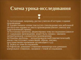 1) Актуализация: например, рассказ учителя об истории создания произведения.