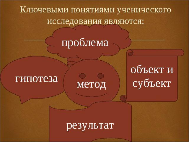 Ключевыми понятиями ученического исследования являются: проблема гипотеза мет...