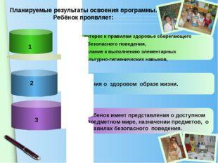 интерес к правилам здоровье сберегающего и безопасного поведения, желание к