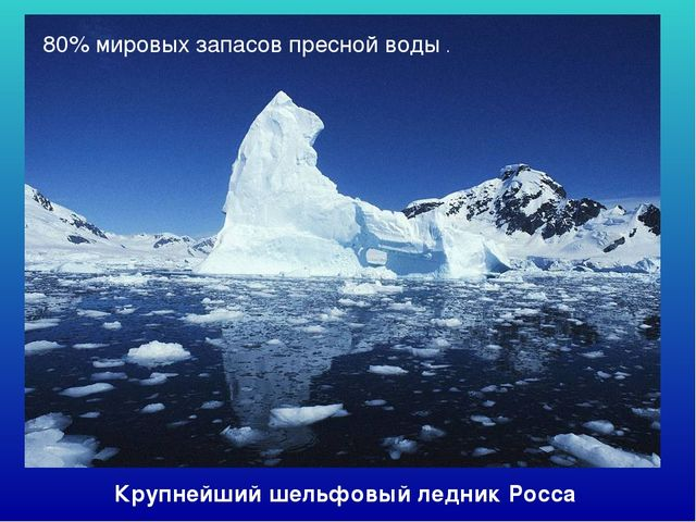 Крупнейший шельфовый ледник Росса 80% мировых запасов пресной воды .