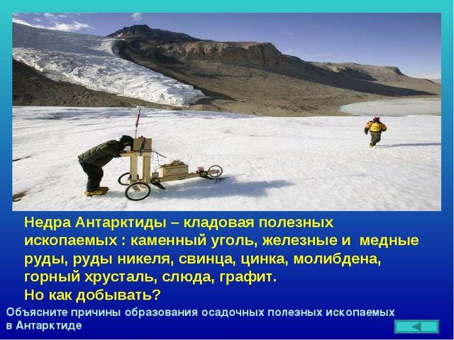 Недра Антарктиды – кладовая полезных ископаемых : каменный уголь, железные и...