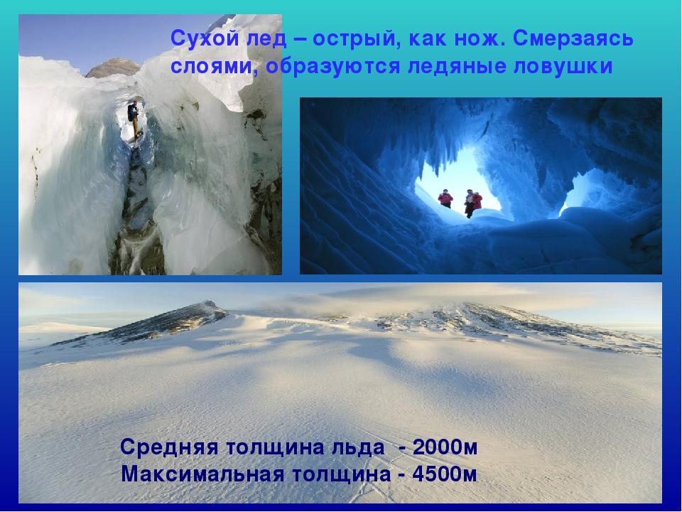 Средняя толщина льда - 2000м Максимальная толщина - 4500м Сухой лед – острый,...