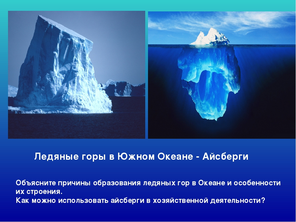 Ледяные горы в Южном Океане - Айсберги Объясните причины образования ледяных...