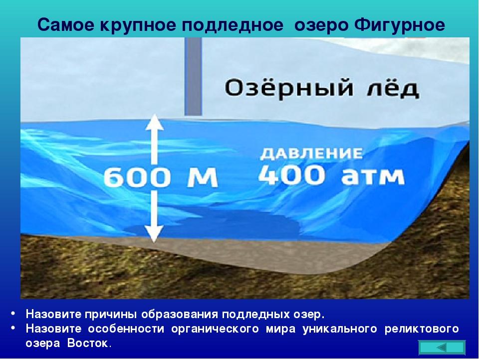 Самое крупное подледное озеро Фигурное Назовите причины образования подледных...