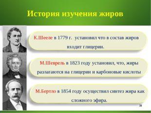 * История изучения жиров К.Шееле в 1779 г. установил что в состав жиров входи