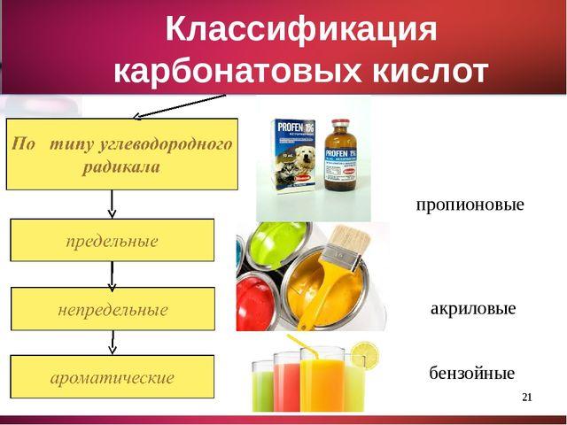 * Классификация карбонатовых кислот пропионовые акриловые бензойные