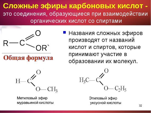 Названия сложных эфиров производят от названий кислот и спиртов, которые прин...
