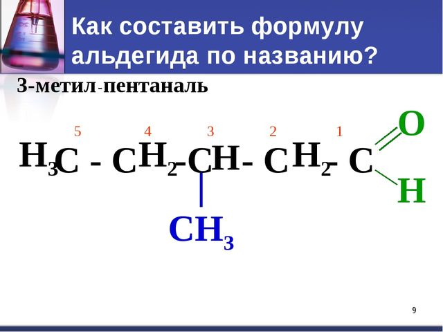 * Как составить формулу альдегида по названию? 3-метил -пентан аль С - С -С -...