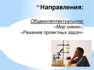 Направления: Общеинтеллектуальное: «Мир химии»; «Решение проектных задач»