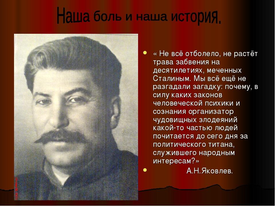 « Не всё отболело, не растёт трава забвения на десятилетиях, меченных Сталины...